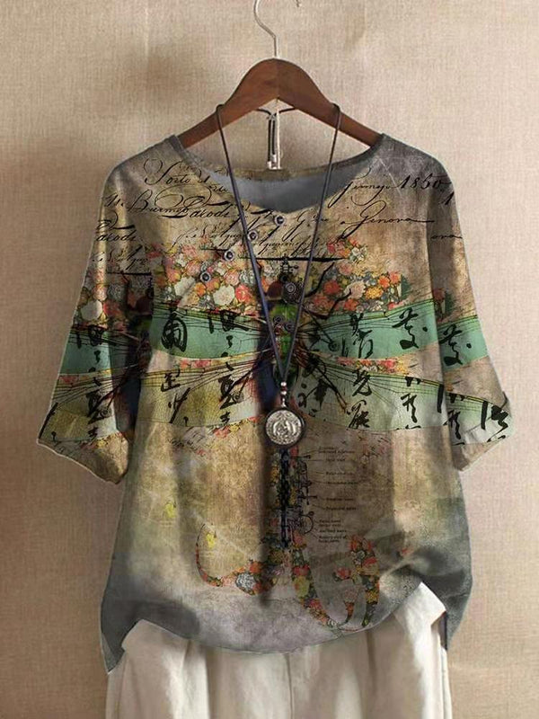 Dragon-fly Print Half Sleeve Shift Cotton V Neck Shirts & Tops
