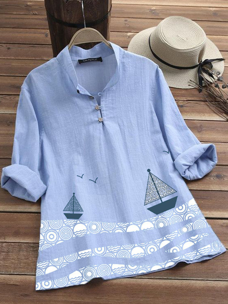 Blue Casual Cotton-Blend Shirts & Tops