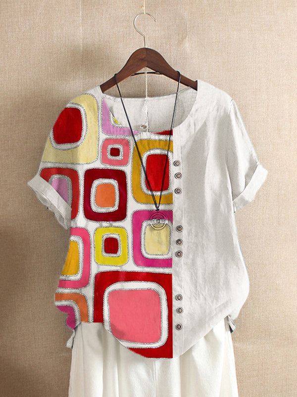 White Casual Geometric Floral-Print Shirts & Tops
