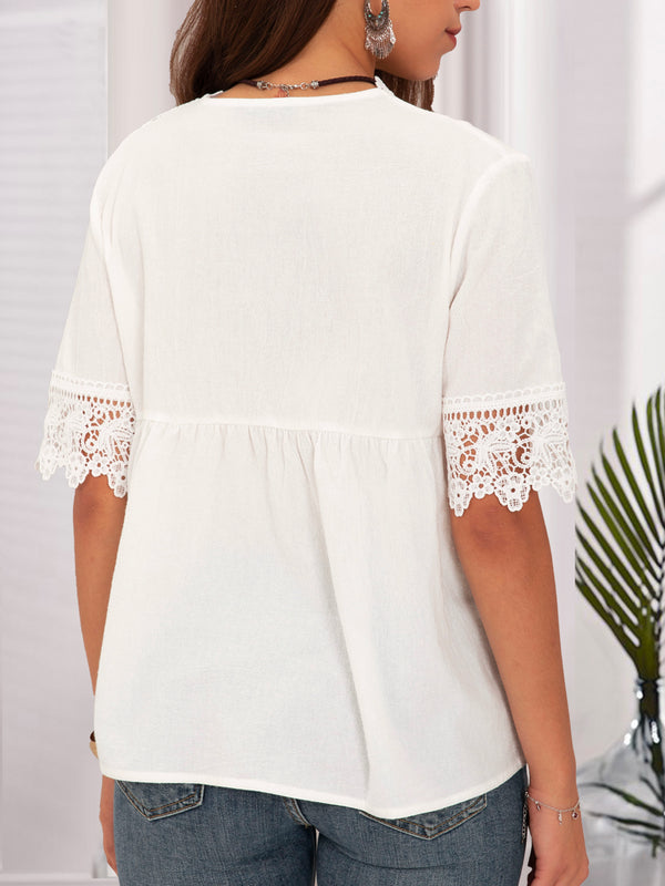 White Solid Holiday Short Sleeve Lace Top