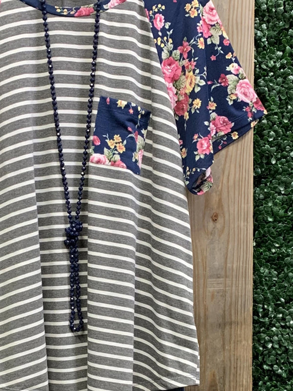Navy Blue Casual Floral Cotton-Blend Shirt & Top