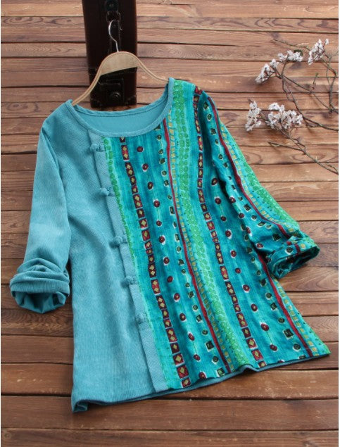 Corduroy Ethnic Long Sleeve A-Line Shirts & Tops