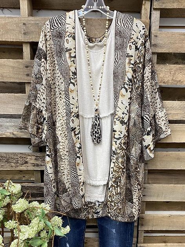 Leopard Short Sleeve Printed  Cotton-blend  V neck  Vintage  Summer  Brown Outwear