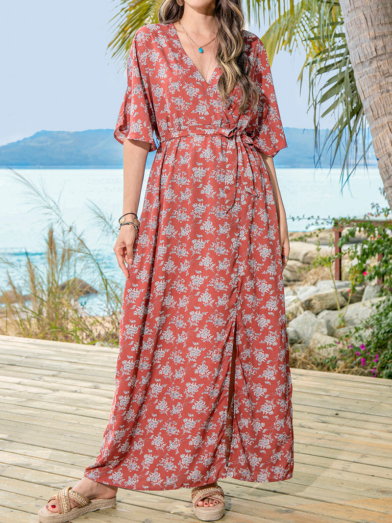 Datered V Neck Half Sleeve Floral Holiday Dresses
