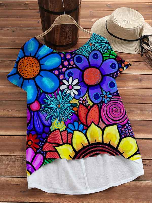 Flower Floral Short Sleeve Cotton-Blend Shirts & Tops