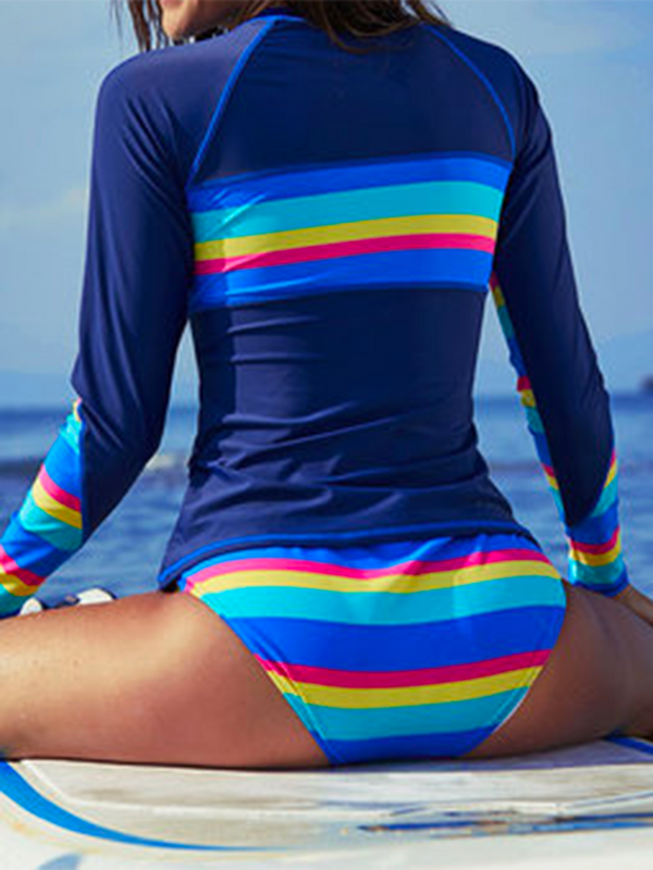 Split surfing suit women's quick-drying sunscreen long-sleeved striped swimsuit wetsuit suit