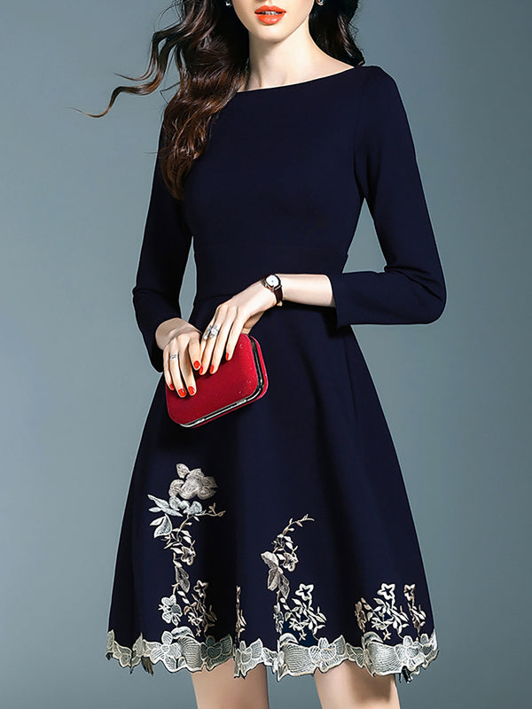Bateau/boat Neck Dark Blue  A-Line Party Floral Midi Dress