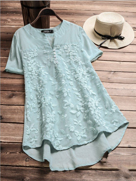 A-Line Short Sleeve V Neck  Lace Holiday Shirts & Tops