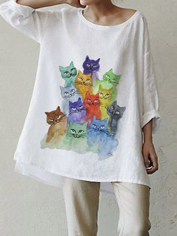 White Cotton-Blend Animal Short Sleeve Shirts & Tops