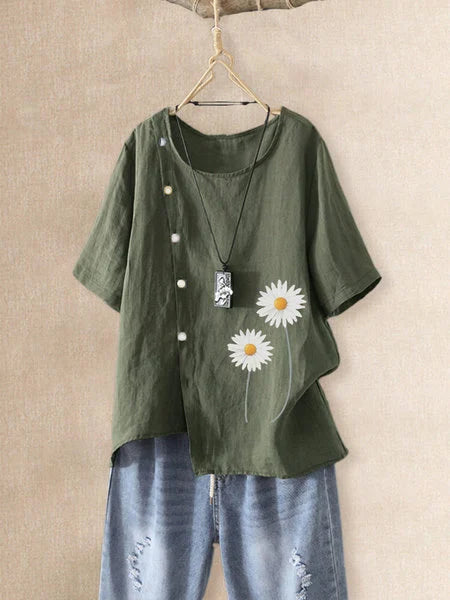 Floral-print Short Sleeve Casual Buttoned Shirts & Tops
