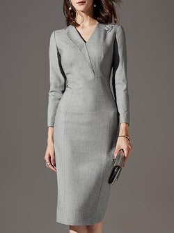 Surplice Neck Sheath Party Elegant Midi Dress