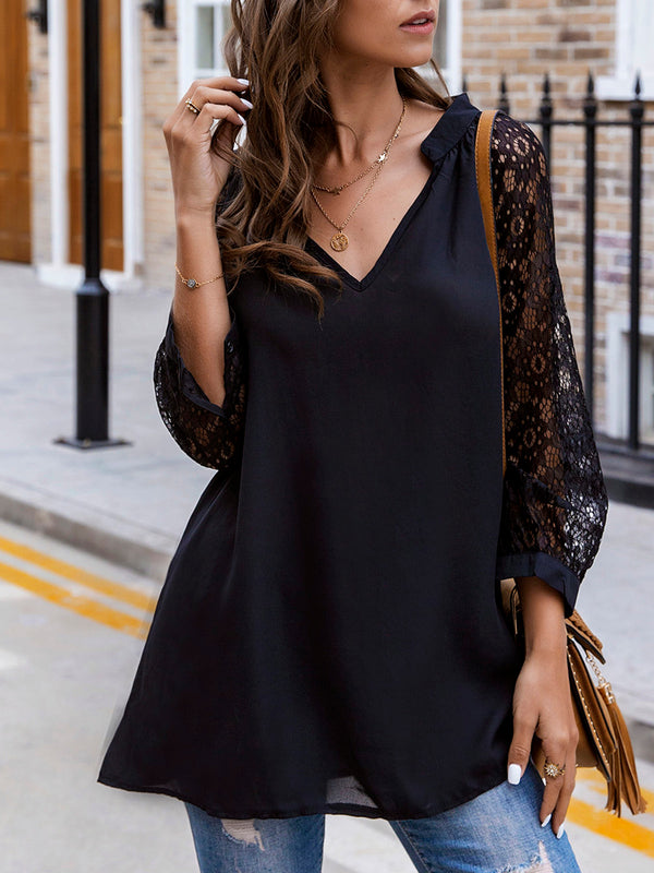 Black Floral Casual Shirts & Tops