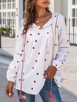 White Long Sleeve V Neck Printed Shirts & Tops