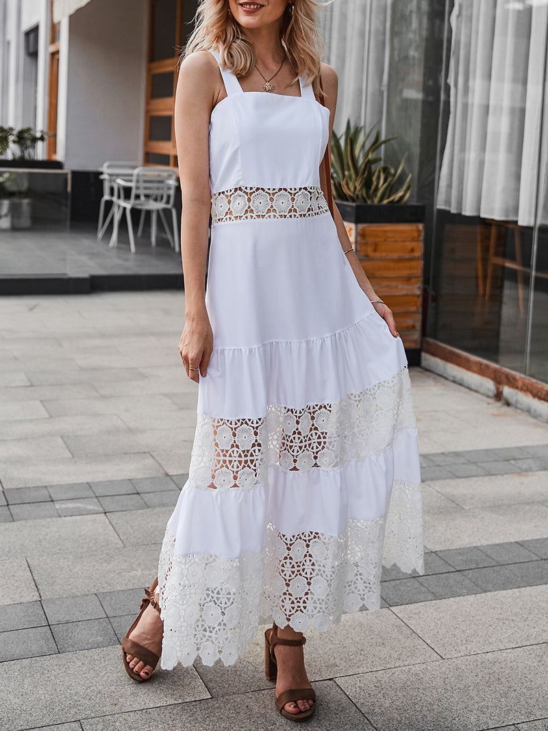 White Dresses A-Line Date Paneled Solid Lace Dress