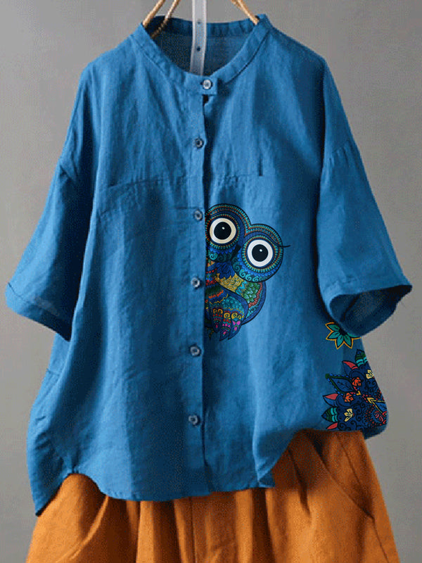 Blue Tribal Holiday Cotton-Blend Shirts & Tops