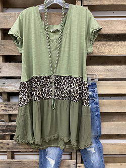 Green Leopard V Neck Cotton Short Sleeve Shirts & Tops