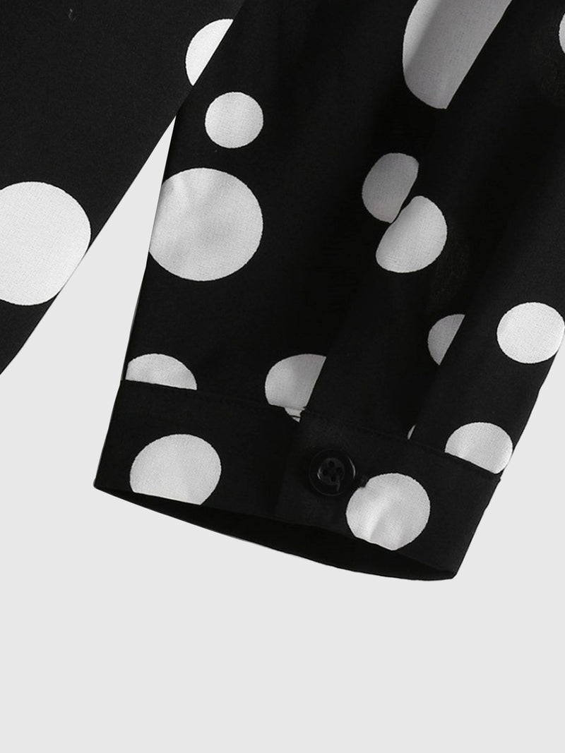 Black Basic Asymmetric Polka Dots Shirts