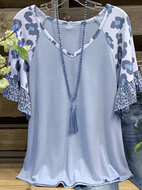 Cotton V Neck Casual Leopard Shirts & Tops