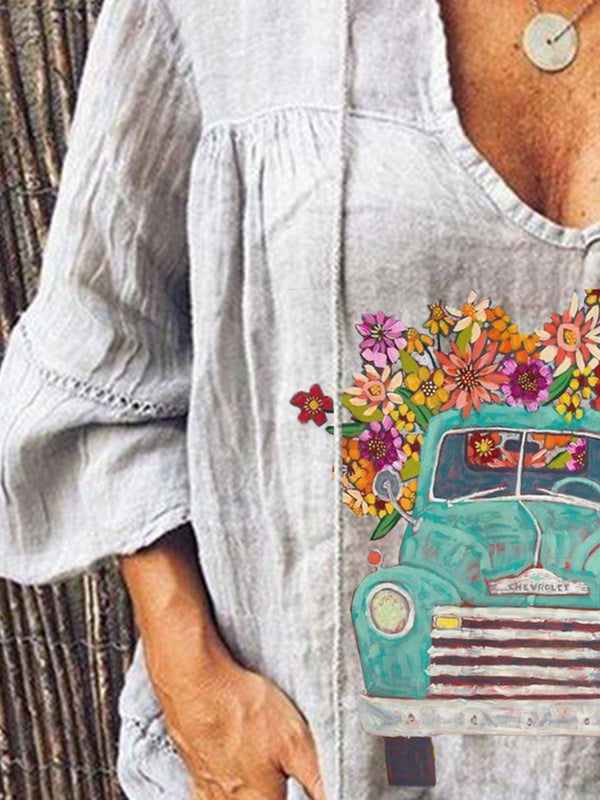 Gray Floral Vintage Shirts & Tops