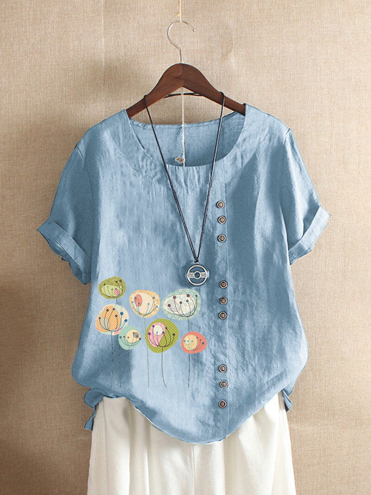 Button Cartoon Floral Print Short Sleeve Casual T-shirt