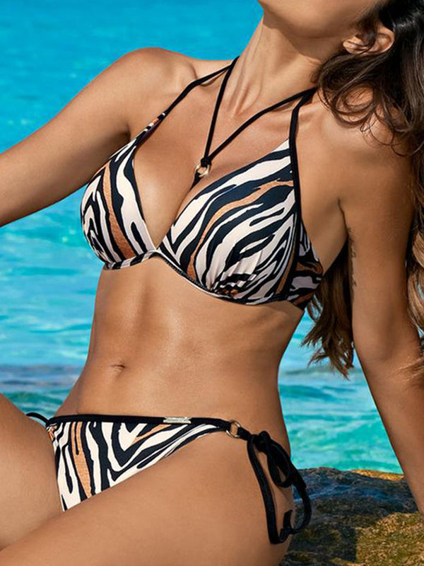 Halter Printed Holiday Swimwear