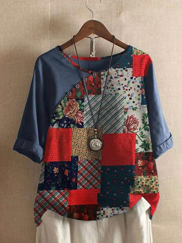 Patchwork Print Half Sleeve Casual V Neck Shirts & Tops