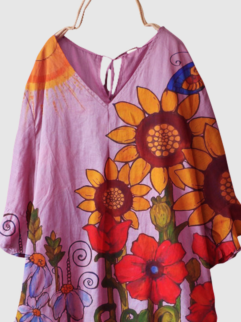 Flower Floral Cotton-Blend Short Sleeve Shirts & Tops