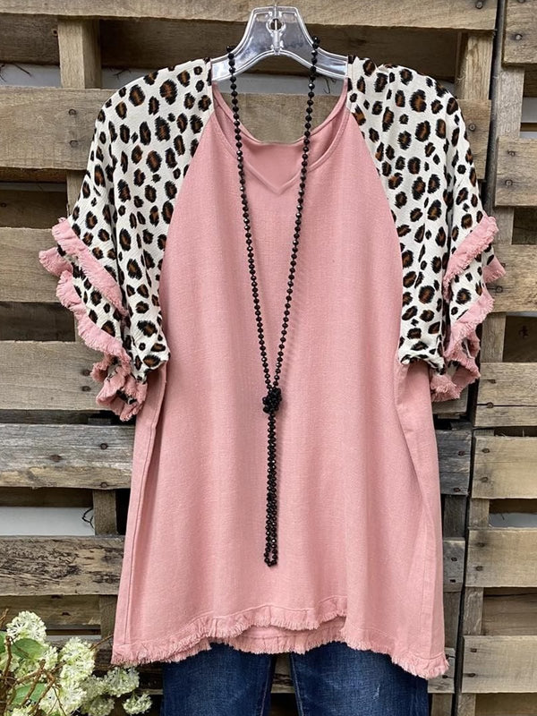 Vintage Leopard Printed Tassel Plus Size Short Sleeve V Neck Casual Tops