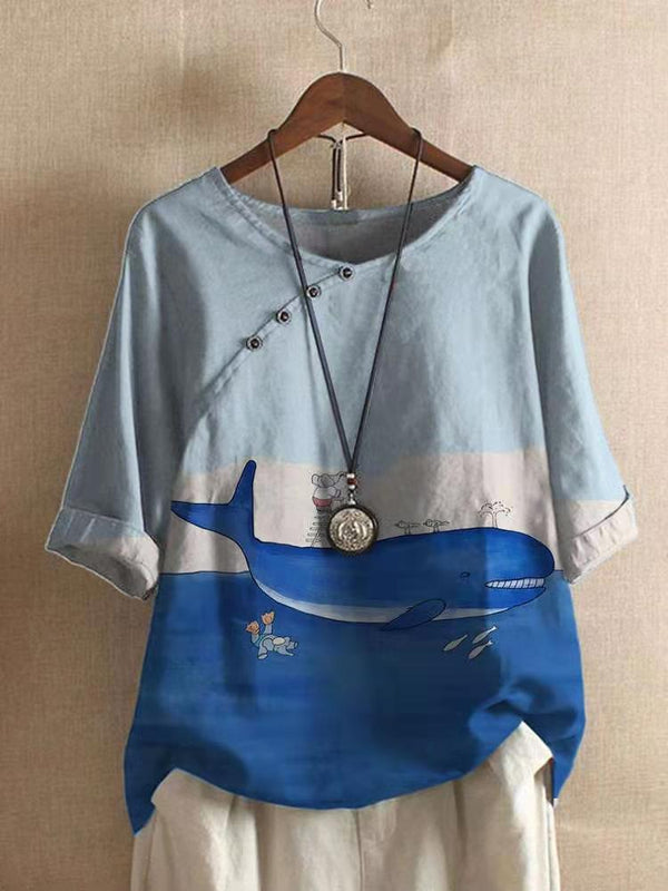 Half Sleeve Casual Whale Printed Shirts