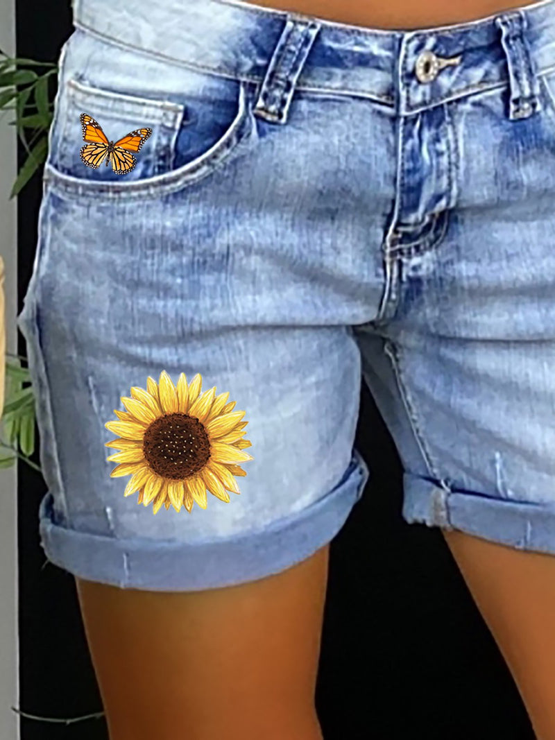 Floral Casual Denim Shorts