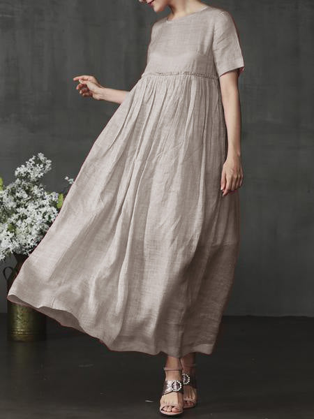 Pink Shift Crew Neck Short Sleeve Solid Daily Maxi Dress