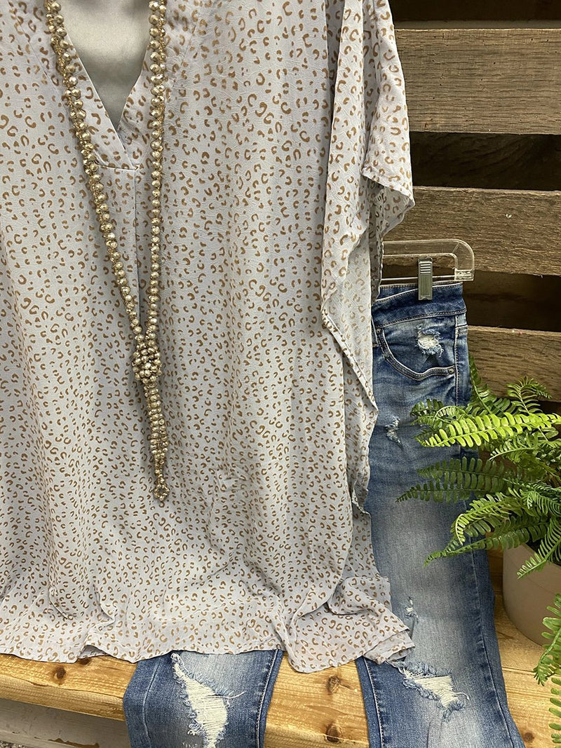 Gray Casual V Neck Floral Shirt & Top