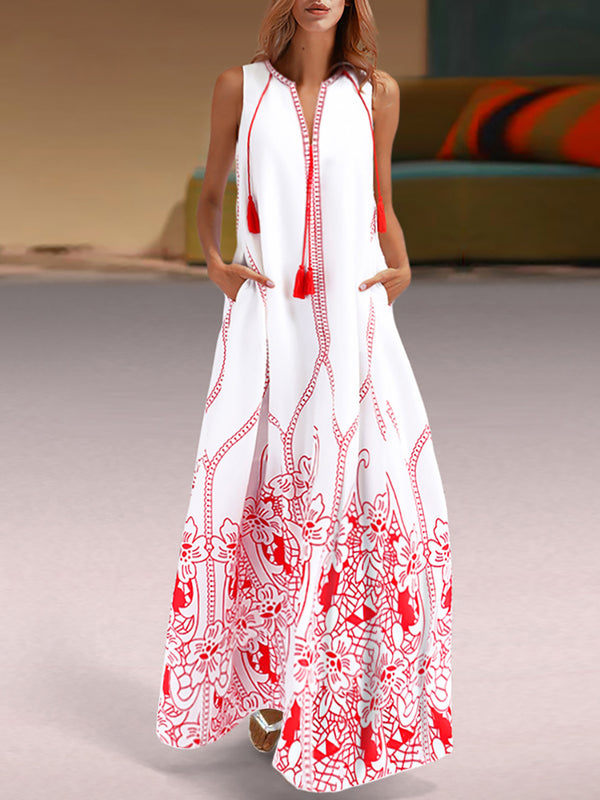 Red Embroidered Beach Maxi Dress