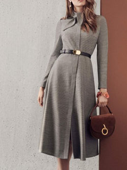 Stand Collar Gray Dresses Going Out Elegant Dresses