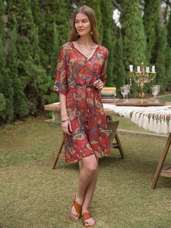 Women Chiffon V Neck Resort  Floral Dresses