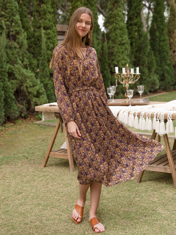 Women Chiffon Paisley V Neck Long Sleeve Dresses