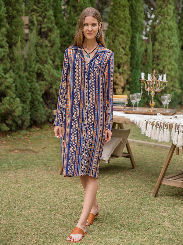 Women Shirt Collar Ethnic Button Down Dresses