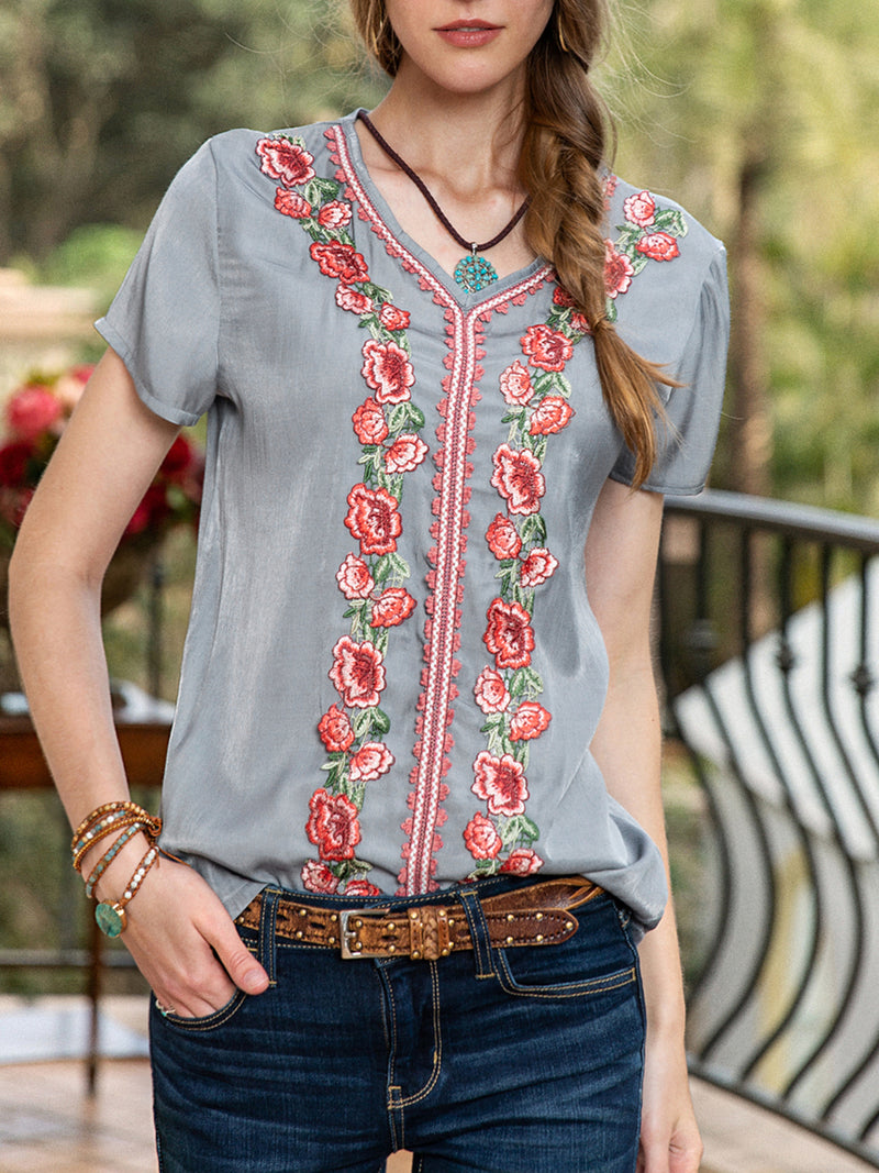 Women Soft Short Sleeve Pastoral Embroidery Plain Shirts & Tops