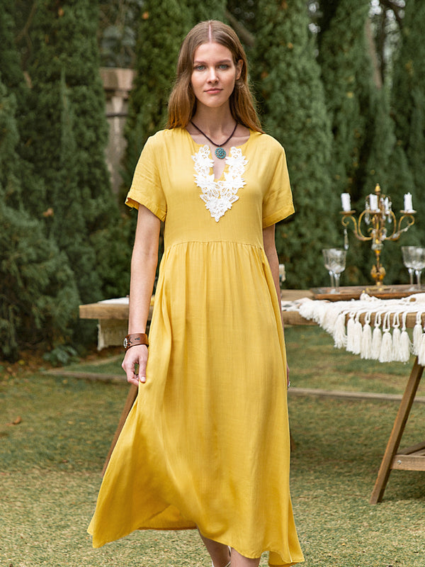 Women Linen Plain Gathered Dresses