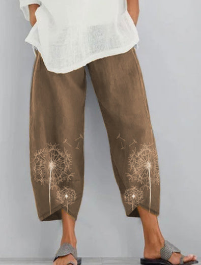 As Picture Casual Printed Cotton Pants
