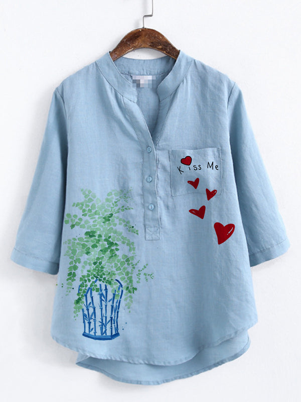 Blue Floral Casual Cotton-Blend Shirts & Tops