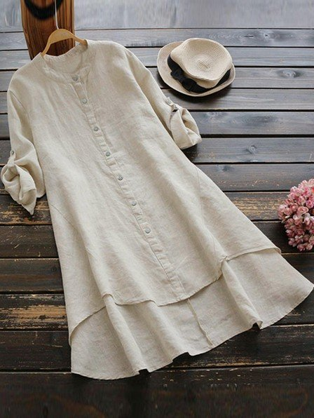 Casual Women Cotton Loose Irregular Hem Long Sleeve Button Blouse