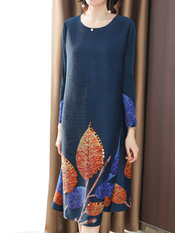 Printed Leaf Beaded Elegant Midi Dress