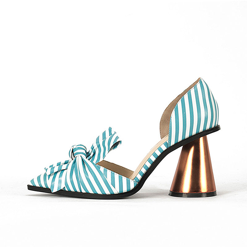 Sweet Stripe Bowknot Party Pointed Toe Shoes