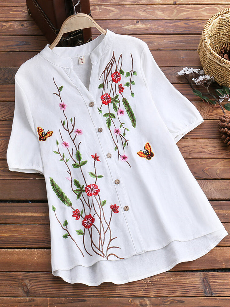 Embroidery Cotton Casual Floral Shirts & Tops