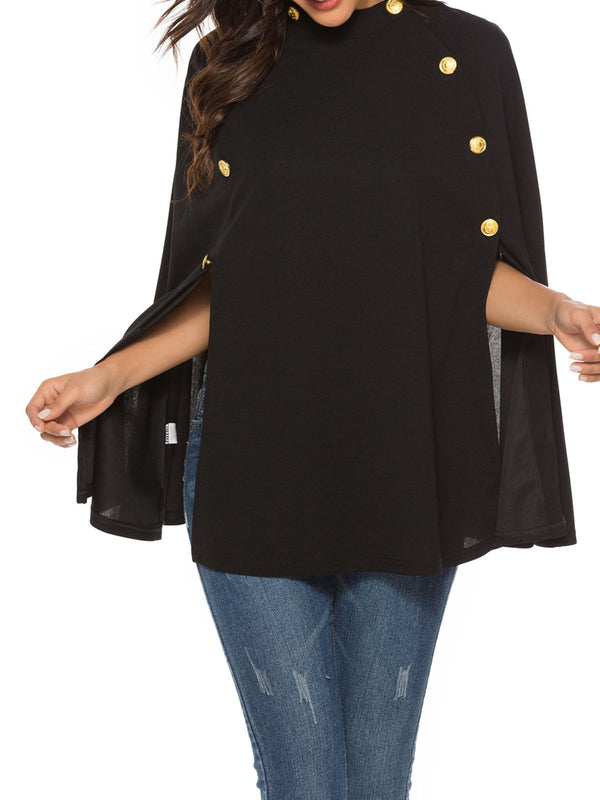 Black Batwing Shift Crew Neck Outerwear