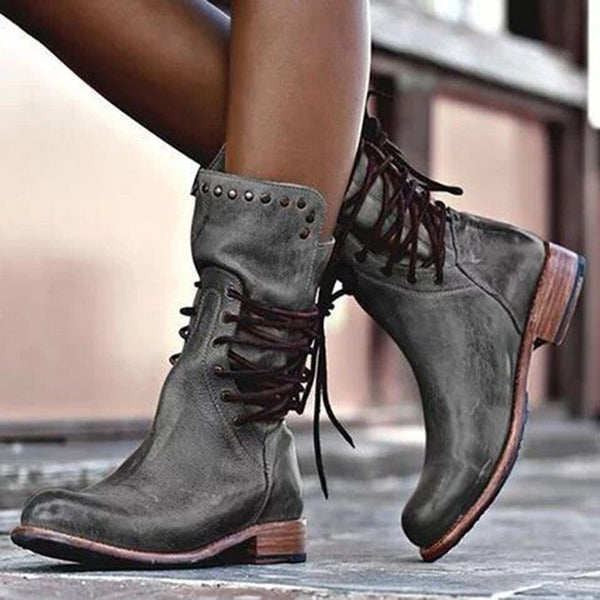 Low Heel Holiday Lace-Up Pu Boots