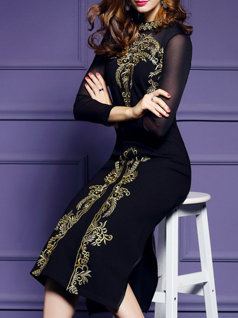 Embroidered Slit Elegant Midi Dress