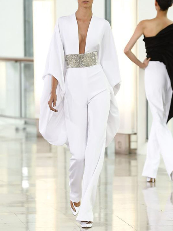 White V Neck Shift Holiday Jumpsuit