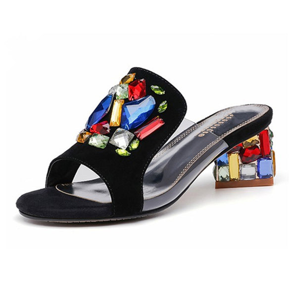Genuine Leather Rhinestone Daily Peep Toe Slippers